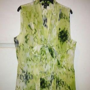 Beautiful silk tie-front  sleeveless blouse